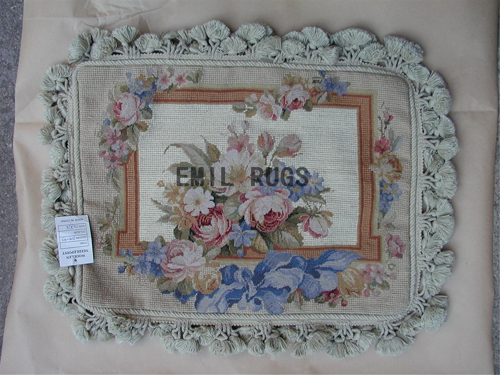 100% wool victorian french aubusson petitpoint 12″ X 16″ needlepoint pillow decorative throw pillows