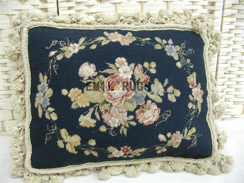 100% wool victorian french aubusson petitpoint 12″ X 16″ needlepoint pillows decorative throw pillows