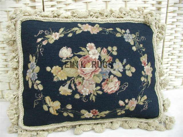 "100% wool victorian french aubusson petitpoint 12"" X 16"" needlepoint pillows decorative throw pillows"