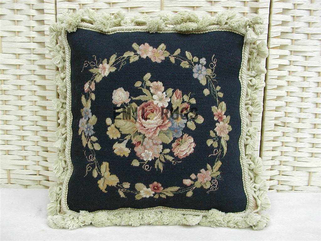100% wool victorian french aubusson petitpoint 14″ X 14″ needlepoint cushions decorative throw pillow