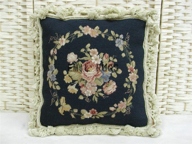 "100% wool victorian french aubusson petitpoint 14"" X 14"" needlepoint cushions decorative throw pillow"