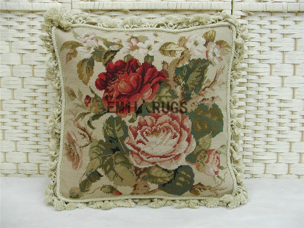 "100% wool victorian french aubusson petitpoint 16"" X 16"" needlepoint cushion decorative throw pillow"
