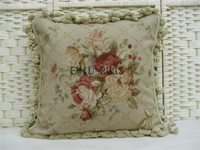 "100% wool victorian french aubusson petitpoint 18"" X 18"" needlepoint pillow decorative throw pillows"