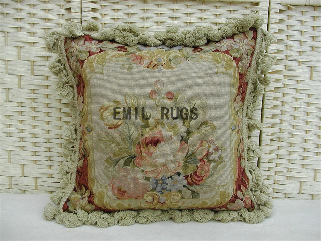 100% wool victorian french aubusson petitpoint 16″ X 16″ needlepoint cushion decorative throw pillow