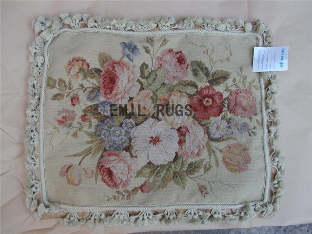 "100% wool victorian french aubusson petitpoint 16"" X 20"" needlepoint cushion decorative throw pillows"