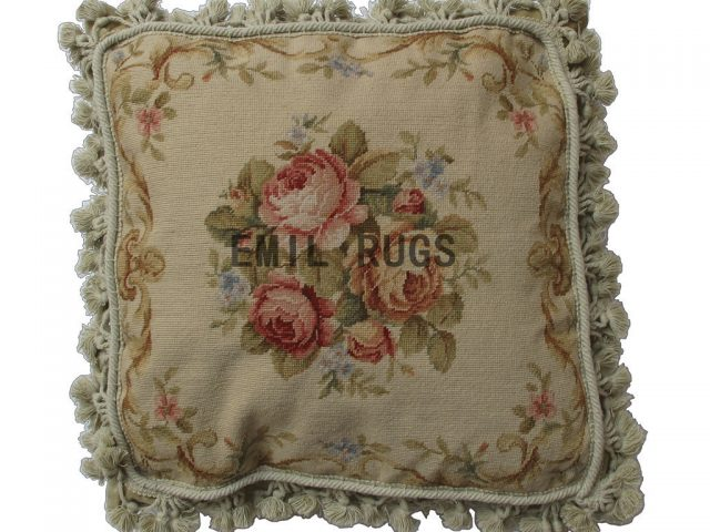 "100% wool victorian french aubusson petitpoint 16"" X 16"" needlepoint pillow decorative throw pillows"