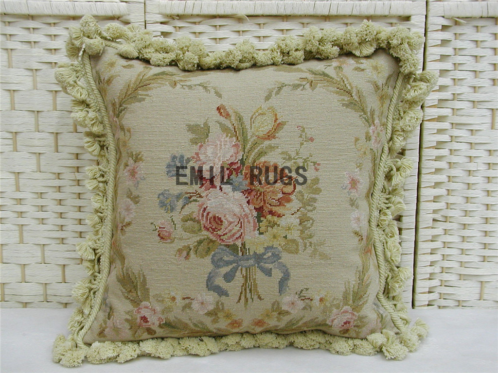 Needlepoint Pillow Decoration Crossword : 100% wool victorian french aubusson petitpoint 18