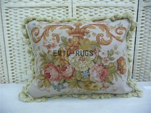 "100% wool victorian french aubusson petitpoint 16"" X 20"" needlepoint cushions decorative throw pillow"