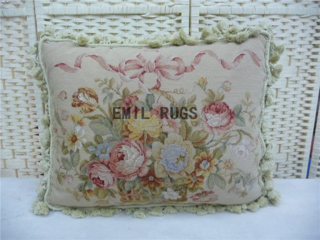 "100% wool victorian french aubusson petitpoint 16"" X 16"" needlepoint pillow decorative throw pillow"