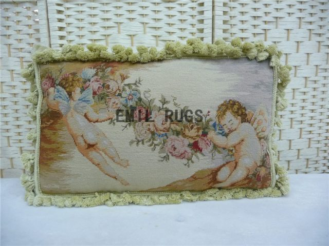 "100% wool victorian french aubusson petitpoint 12"" X 20"" needlepoint pillow decorative throw pillow"
