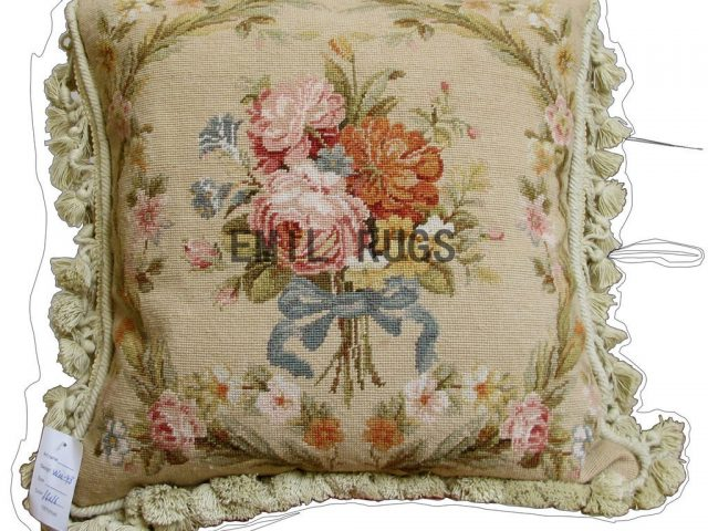 "100% wool victorian french aubusson petitpoint 16"" X 16"" needlepoint pillows decorative throw pillow"