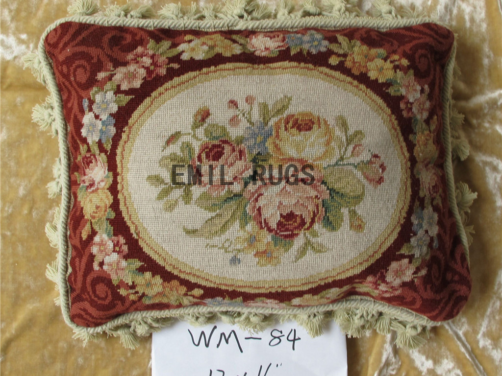 Victorian Tapestry Pillows : 100% wool victorian french aubusson petitpoint 12