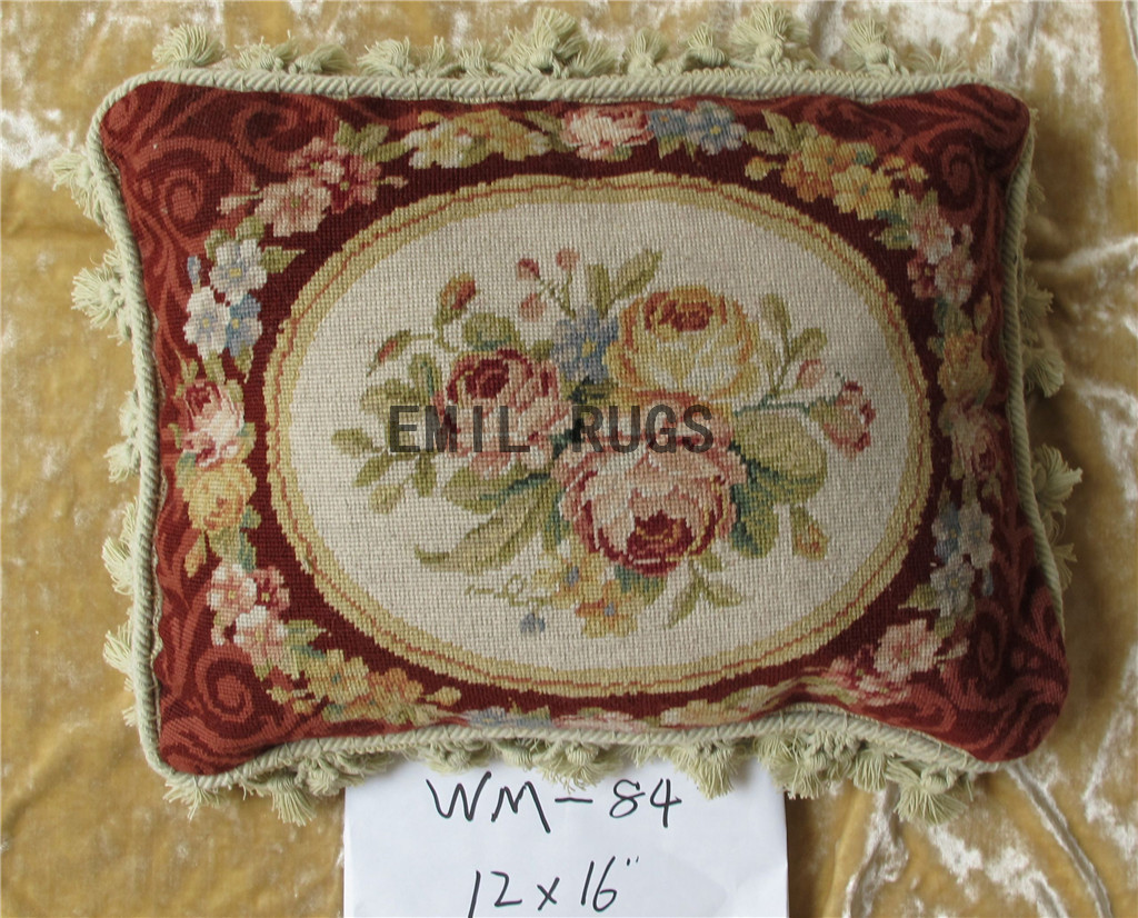 """100% wool victorian french aubusson petitpoint 12"""" X 16"""" needlepoint cushions decorative throw pillows"""