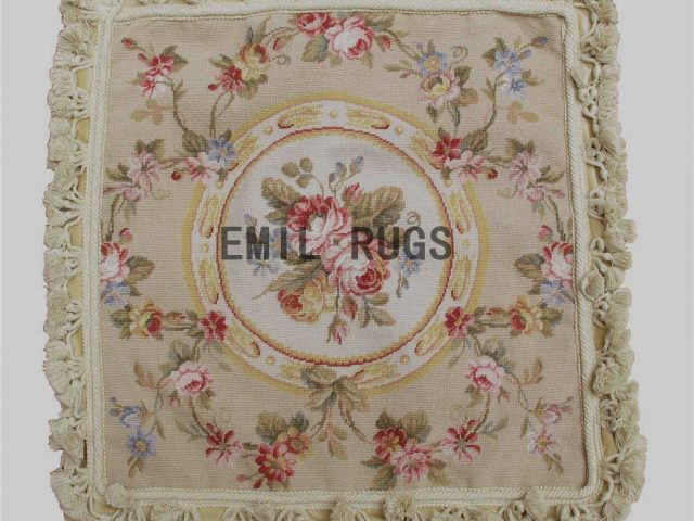 "100% wool victorian french aubusson petitpoint 18"" X 18"" needlepoint cushions decorative throw pillow"