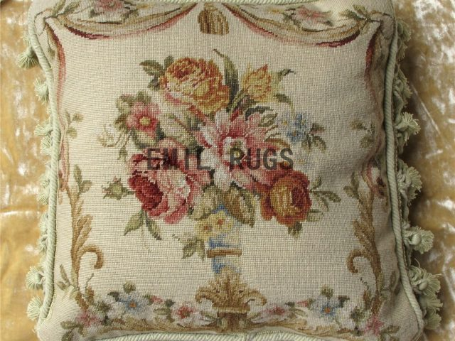"100% wool victorian french aubusson petitpoint 18"" X 18"" needlepoint cushion decorative throw pillow"
