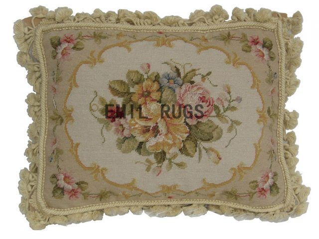 "100% wool victorian french aubusson petitpoint 16"" X 20"" needlepoint pillow decorative throw pillows"