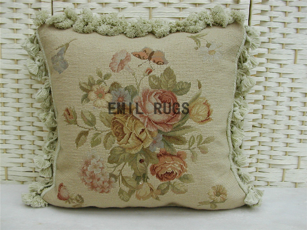 Needlepoint Pillow Decoration Crossword : 100% wool victorian french aubusson petitpoint 16