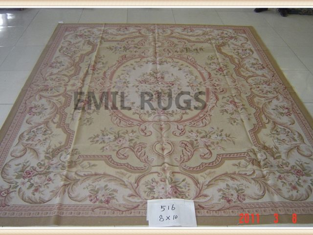 handmade 8' X 10' Yellow Field Ivory Border flat weave aubusson rugs