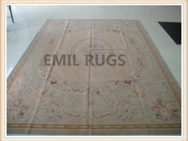 authentic wool french 8' X 10' Yellow Field Beige Border flat weave aubusson rugs