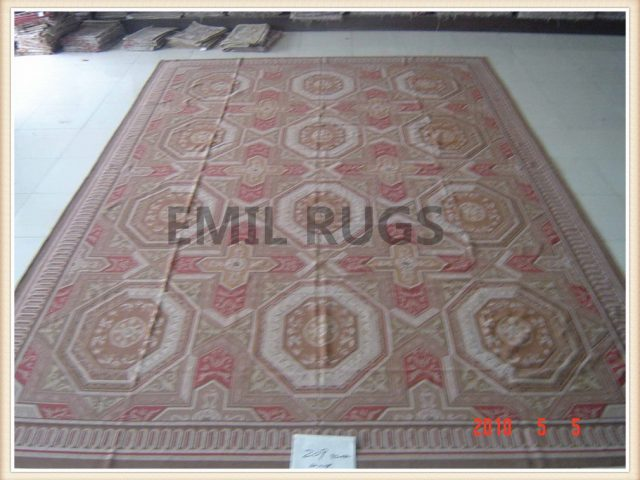 authentic wool french Runner 2.5' X 7' Red Field Red Border flat weave aubusson rug