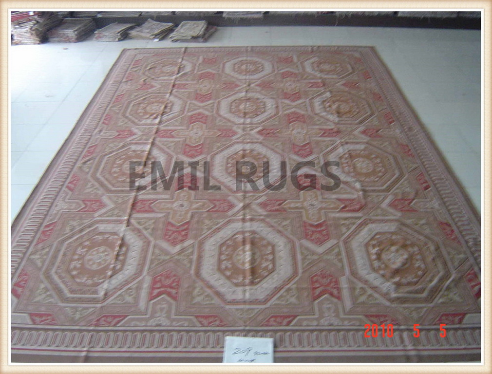 authentic wool french Runner 2.5′ X 7′ Red Field Red Border flat weave aubusson rug