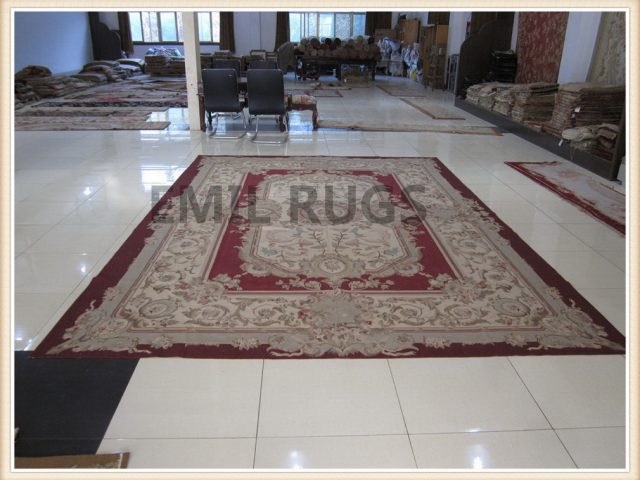handmade 8' X 10' Red Field Ivory Border flat weave aubusson carpets