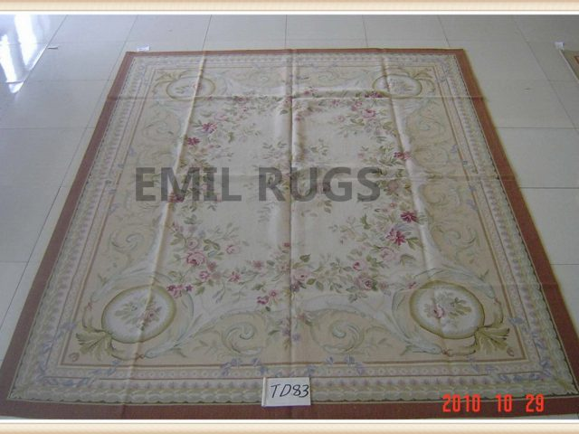 handmade 8' X 10' Ivory Field Multi-Colored Border flat weave aubusson carpet