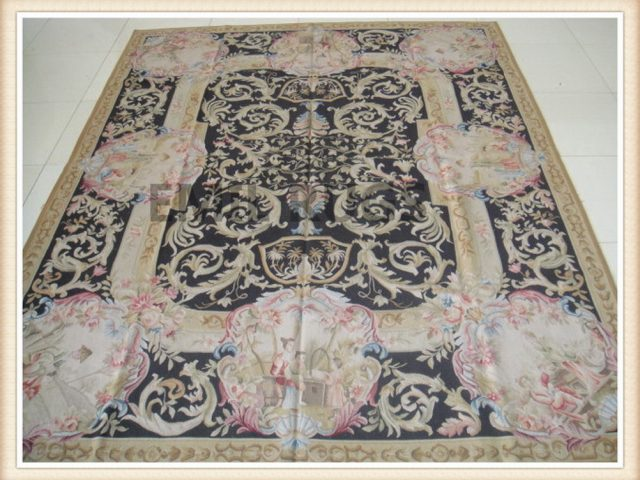 authentic wool french 8' X 10' Black Field Black Border flat weave aubusson rugs