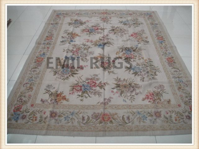 authentic wool french 8' X 10' Ivory Field Ivory Border flat weave aubusson carpets