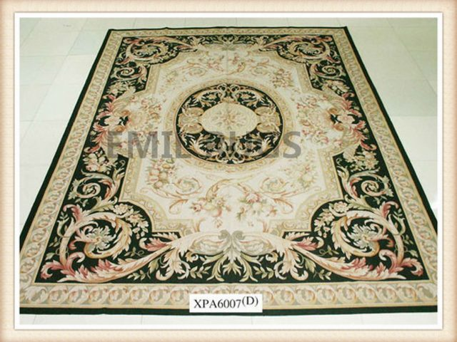 authentic wool french 8' X 10' Ivory Field Multi-Colored Border flat weave aubusson rug