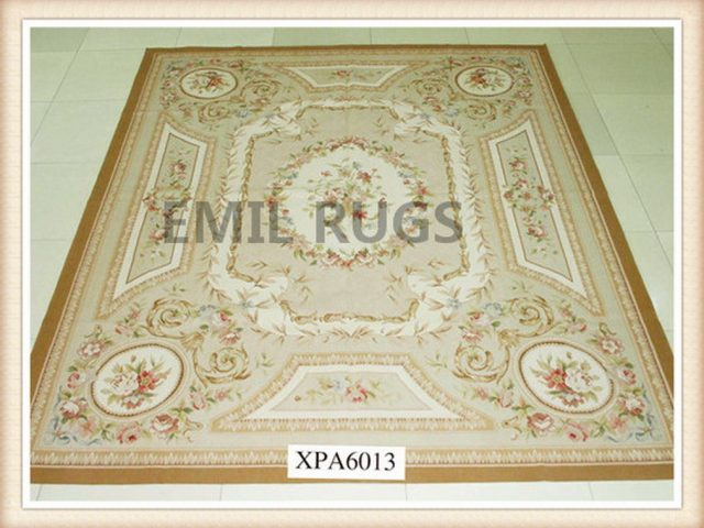 hand woven 8' X 10' Ivory Field Multi-Colored Border flat weave aubusson carpets