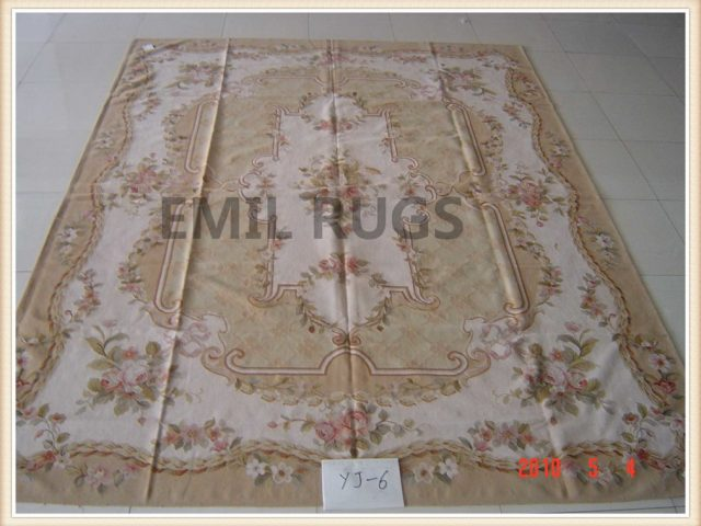 authentic wool french 8' X 10' Beige Field Ivory Border flat weave aubusson carpet