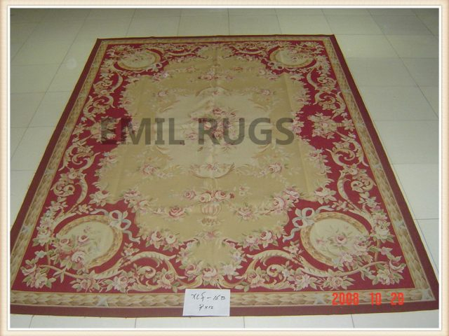 handmade 9' X 12' Yellow Field Multi-Colored Border flat weave aubusson rug