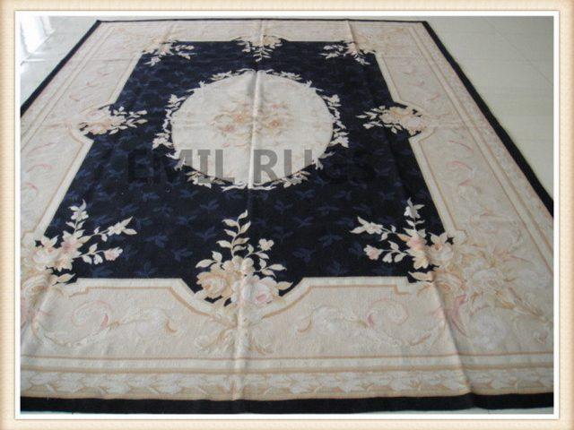 authentic wool french 9' X 12' Black Field Ivory Border flat weave aubusson carpet