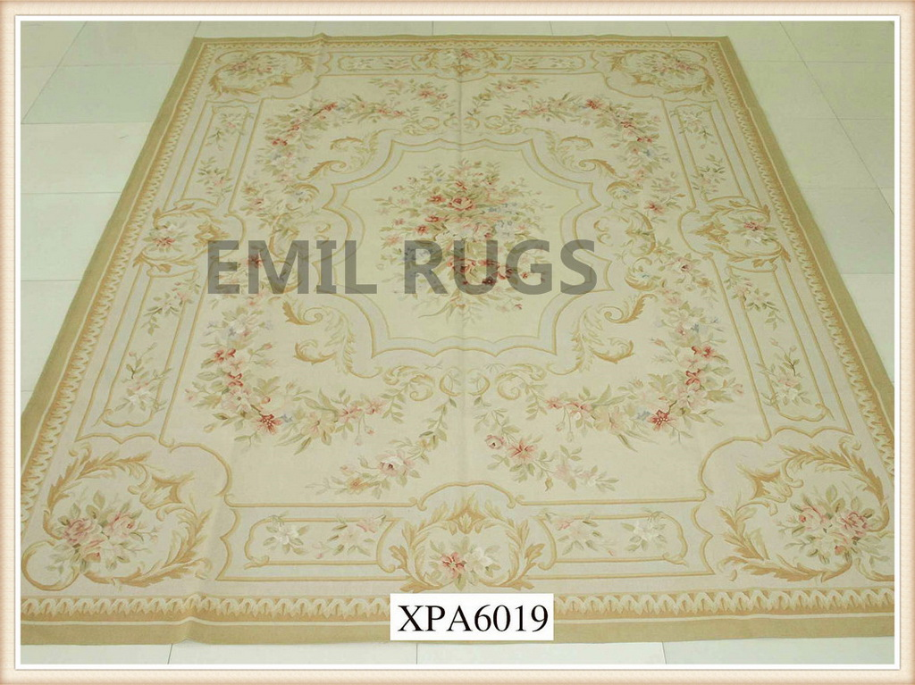 authentic wool french 9' X 12' Ivory Field Multi-Colored Border flat weave aubusson carpets