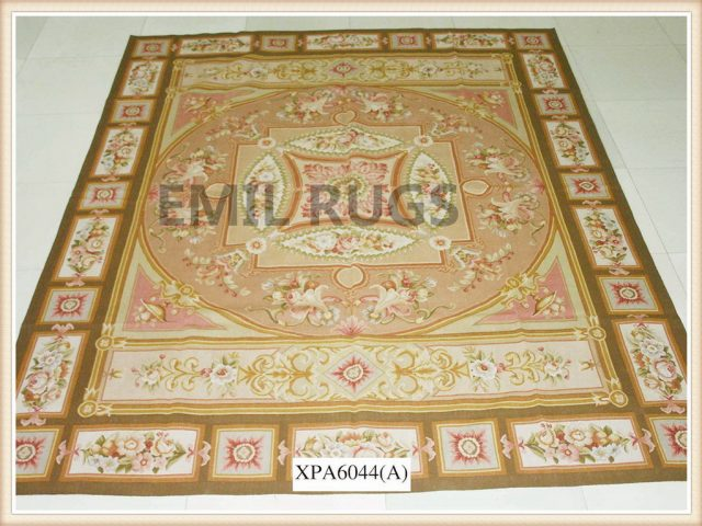 authentic wool french 9' X 12' Pink Field Multi-Colored Border flat weave aubusson rugs