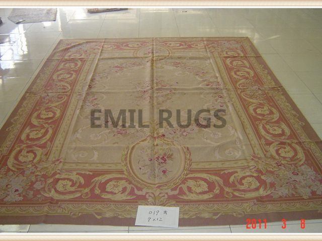 authentic wool french 10' X 14' Ivory Field Red Border flat weave aubusson rug