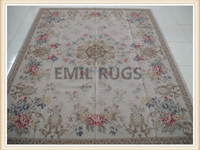 authentic wool french 10' X 14' Ivory Field Ivory Border flat weave aubusson rug
