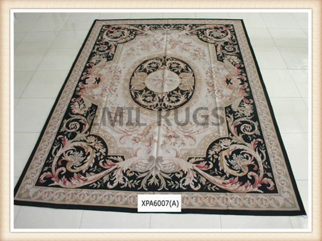 authentic wool french 12' X 15' Ivory Field Multi-Colored Border flat weave aubusson carpet