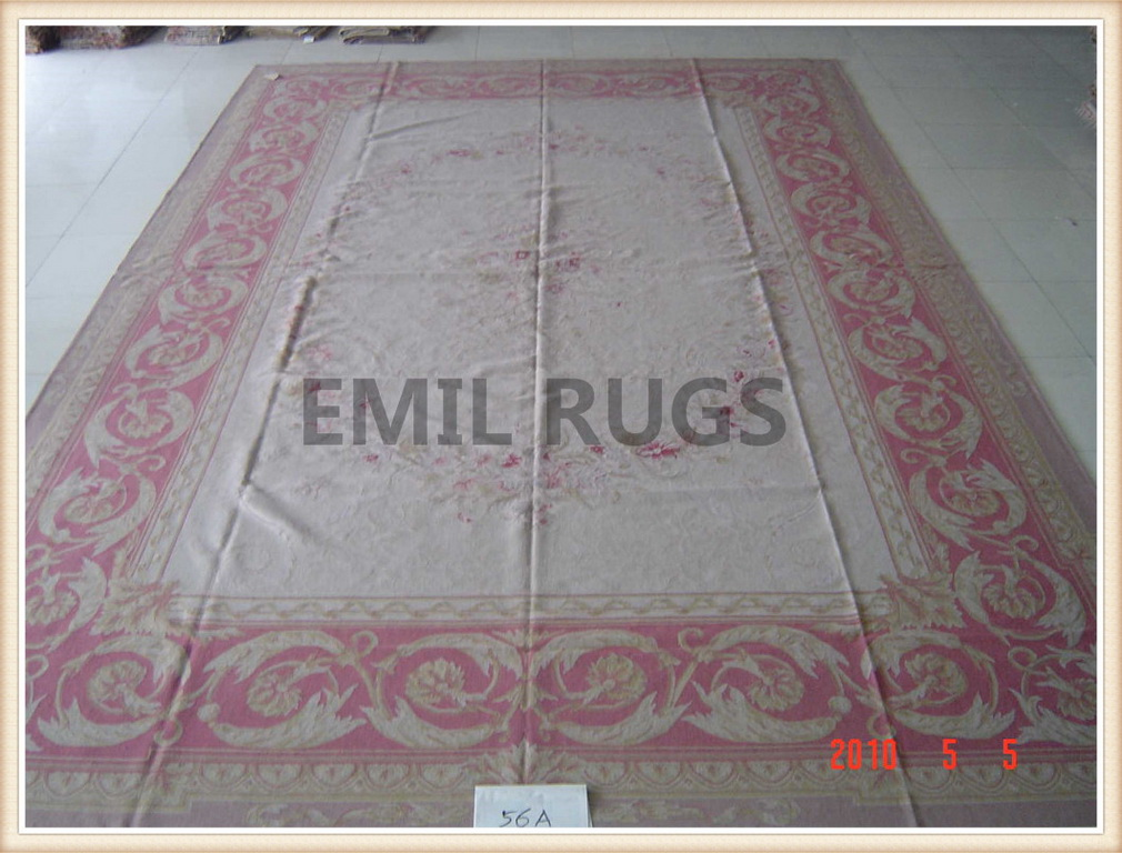 authentic wool french 12' X 18' Ivory Field Red Border flat weave aubusson rug