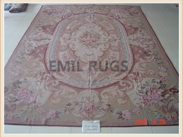 authentic wool french 12' X 18' Multi-Colored Field Multi-Colored Border flat weave aubusson carpet