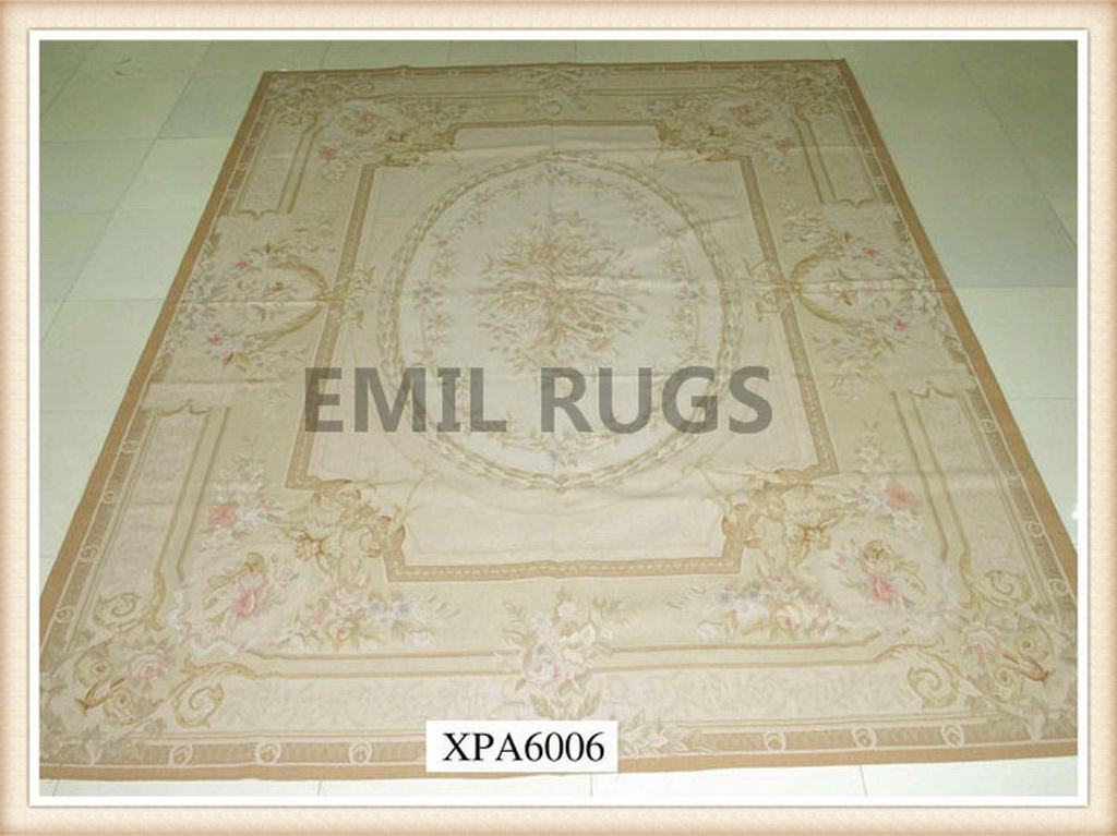 hand woven 12' X 18' Ivory Field Ivory Border  flat weave aubusson carpet