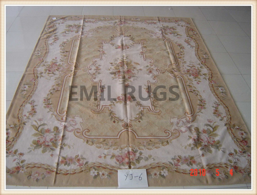 authentic wool french 12' X 18' Aqua Field Ivory Border flat weave aubusson carpets