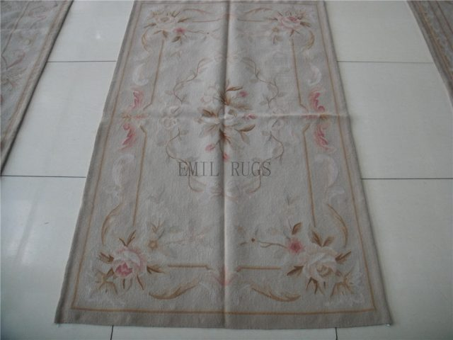 authentic wool french 3' X 5' Ivory Field Ivory Border flat weave aubusson carpets