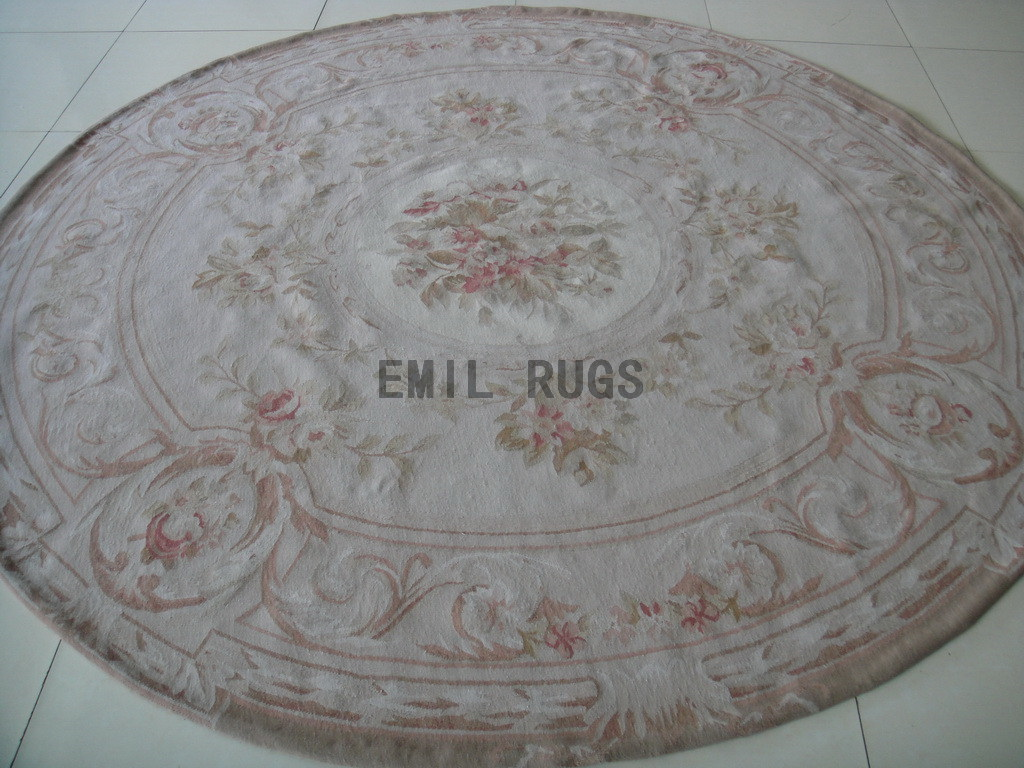 authentic wool french Round 8' X 8' Ivory Field Ivory Border flat weave aubusson carpet
