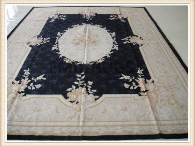 authentic wool french 4' X 6' Black Field Ivory Border flat weave aubusson rug