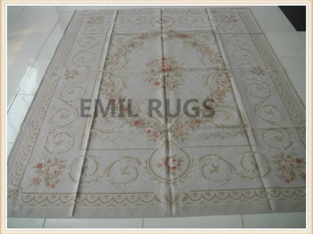 hand woven 4' X 6' Ivory Field Ivory Border flat weave aubusson carpets