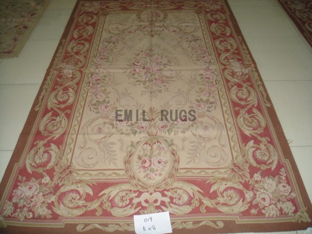 handmade 5' X 8' Yellow Field Red Border flat weave aubusson rug