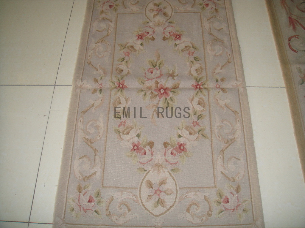 authentic wool french 2.5' X 4.6' Ivory Field Ivory Border flat weave aubusson carpet