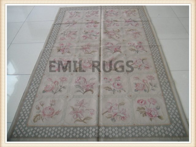 hand woven 5' X 8' Ivory Field Blue Border flat weave aubusson rugs